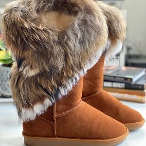 Cute Real Rabbit Fur suede boots